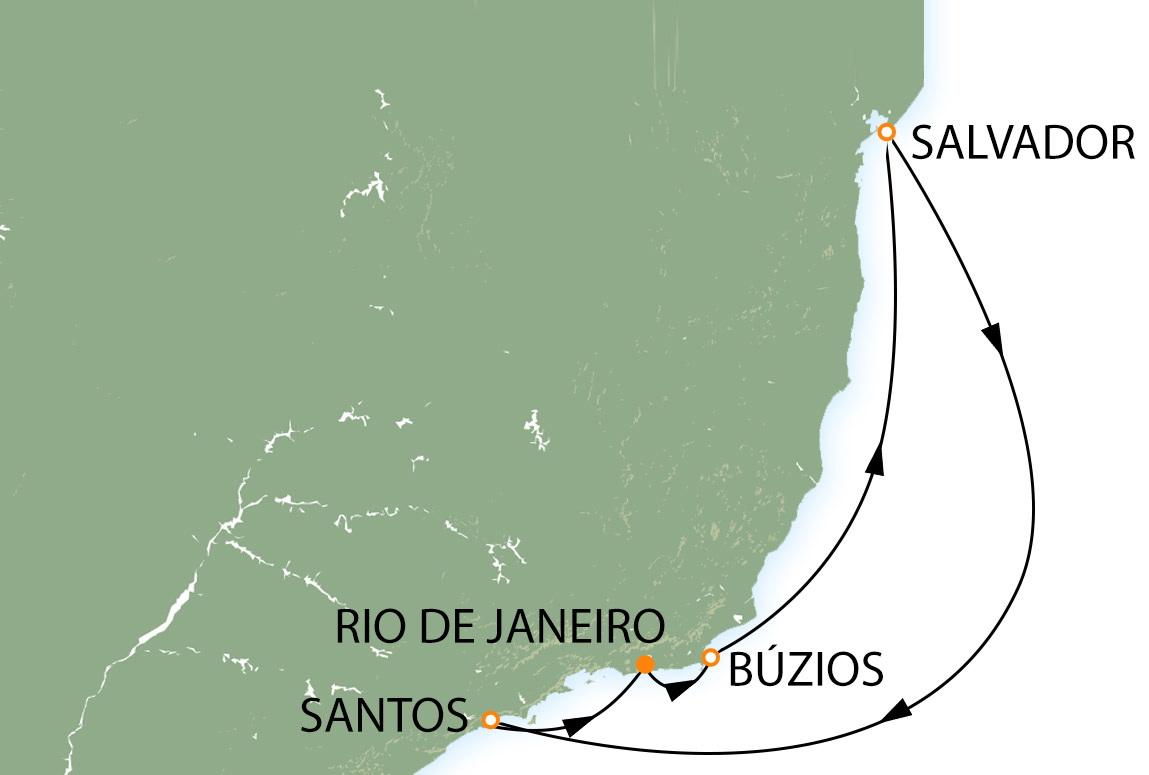 Rio, Búzios, Salvador e Santos