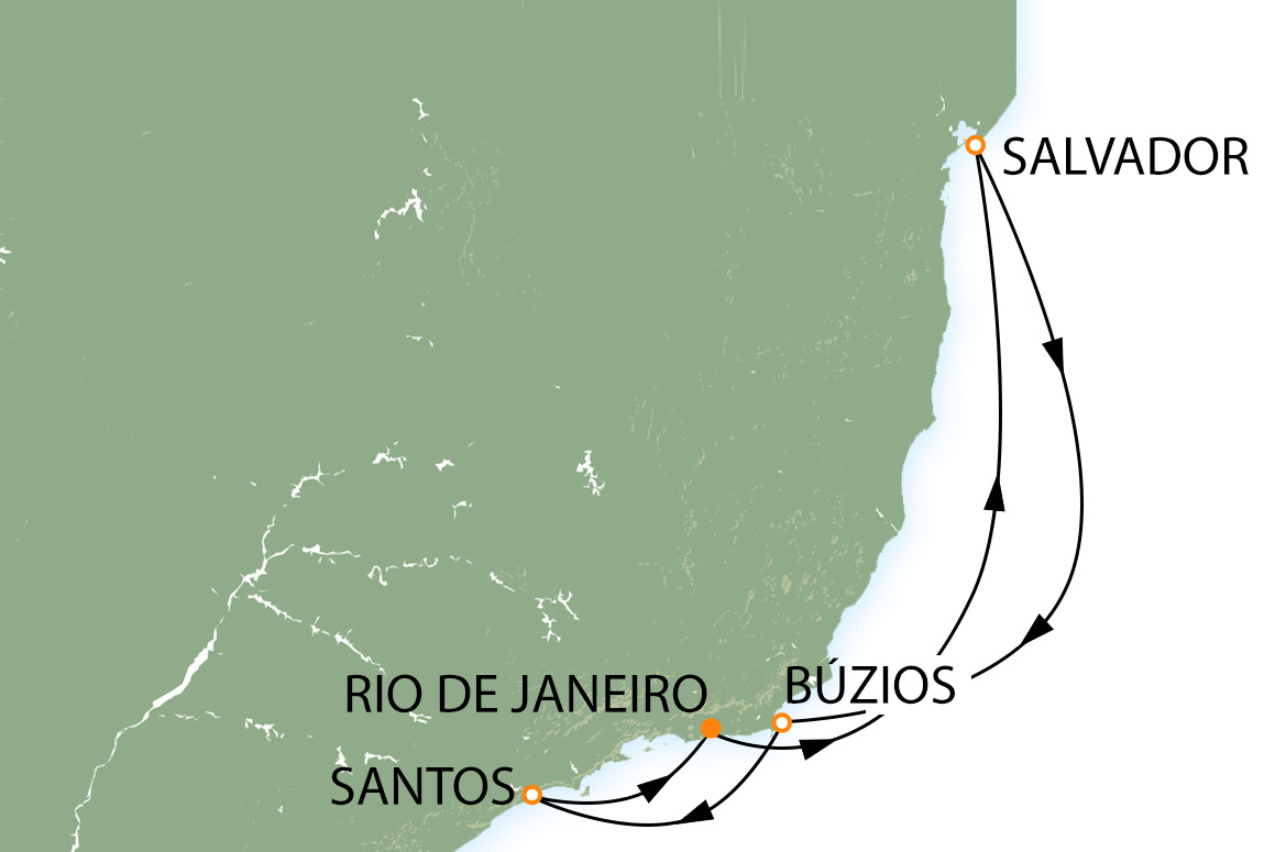 Rio, Copacabana, Salvador, Búzios e Santos